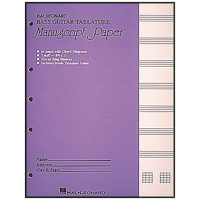 Hal Leonard Bass Guitar Tablature Manuscript Paper