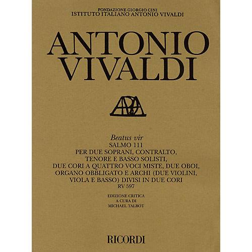 Ricordi Beatus vir RV597 Study Score Series Composed by Antonio Vivaldi Edited by M Talbot