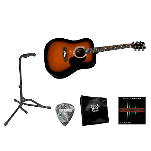 Rogue Beginner Acoustic Dreadnought Guitar with Accessory Pack