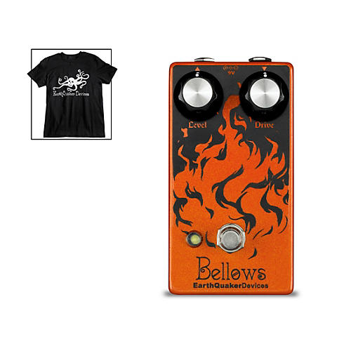 EarthQuaker Devices Bellows Fuzz Driver Guitar Effects Pedal and Octoskull T-Shirt Large Black