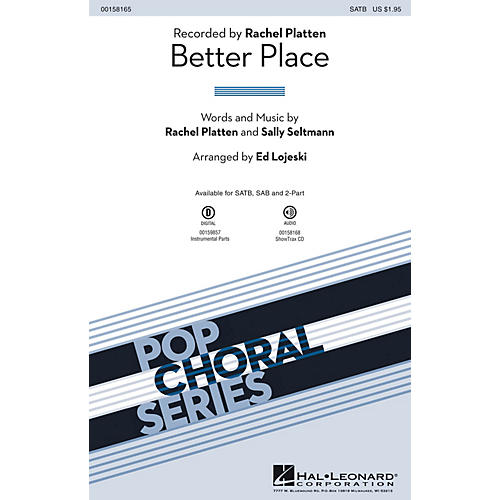 Hal Leonard Better Place SATB by Rachel Platten arranged by Ed Lojeski