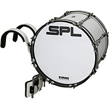 Birch Marching Bass Drum with Carrier - White 16 x 14 in.