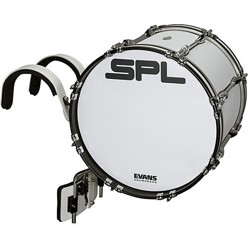 Sound Percussion Labs Birch Marching Bass Drum with Carrier - White