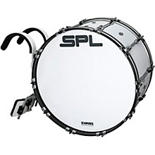 Birch Marching Bass Drum with Carrier - White 22 x 14 in.