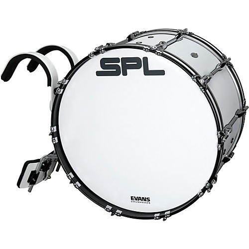 Sound Percussion Labs Birch Marching Bass Drum with Carrier - White Condition 1 - Mint 22 x 14 in.