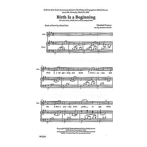 Transcontinental Music Birth Is a Beginning SATB composed by Marshall Portnoy