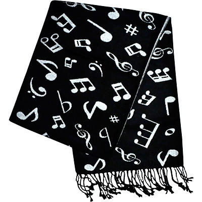 AIM Black And White Music Note Cashmere Scarf