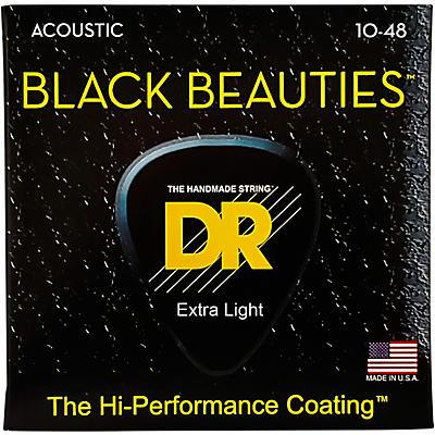 DR Strings Black Beauties Acoustic Guitar Strings Extra Lite