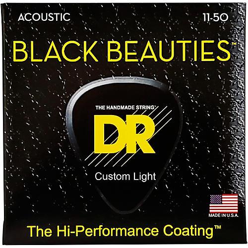DR Strings Black Beauties Light Acoustic Guitar Strings
