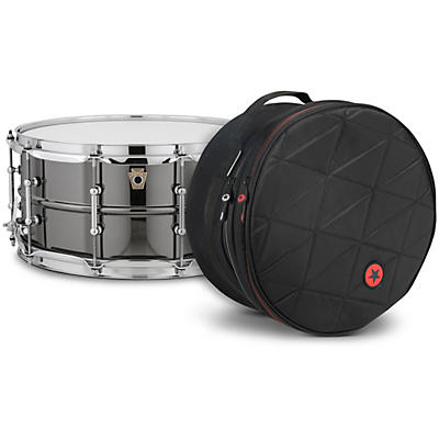 Ludwig Black Beauty Snare Drum with Tube Lugs and Road Runner Bag