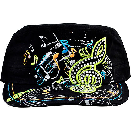 AIM Black Rhinestone G-Clef Hat