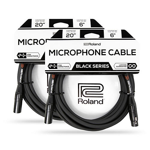 Roland Black Series XLR Microphone Cable 20 ft. Black 2-Pack