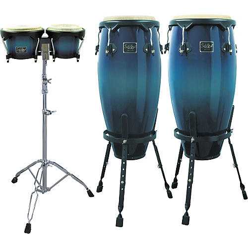 Schalloch Blue Fade Conga/Bongo Set with Stands