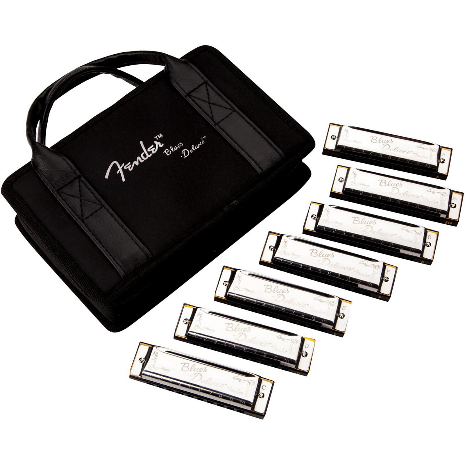 Fender Blues Deluxe Harmonica Set (7-Pack with Case, Keys of C, G, A, D, F, E and Bb)