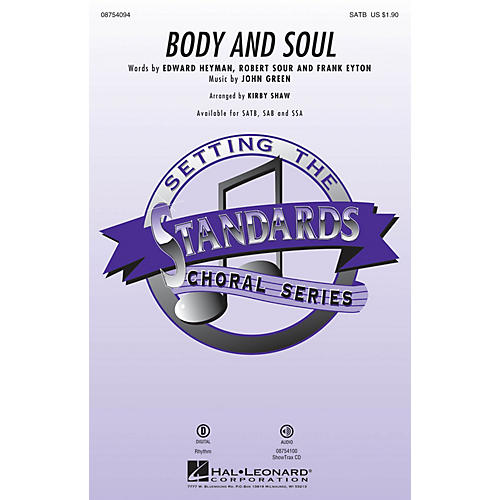 Hal Leonard Body and Soul SATB by Tony Bennett arranged by Kirby Shaw