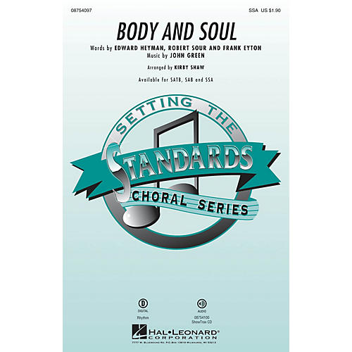 Hal Leonard Body and Soul SSA by Tony Bennett arranged by Kirby Shaw