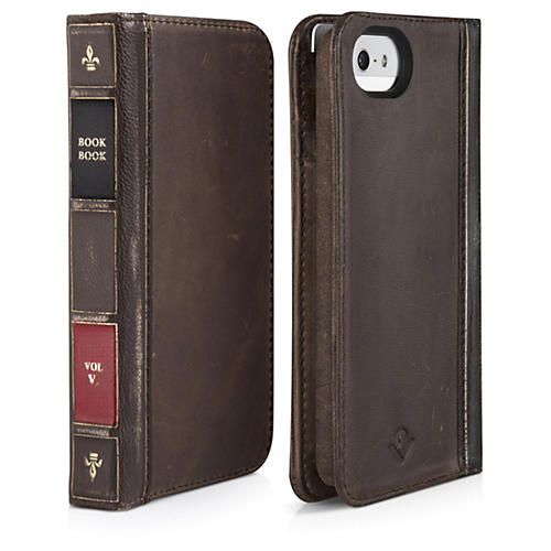 Twelve South BookBook Carrying Case (Wallet) for iPhone - Vintage Brown - Leather - Book
