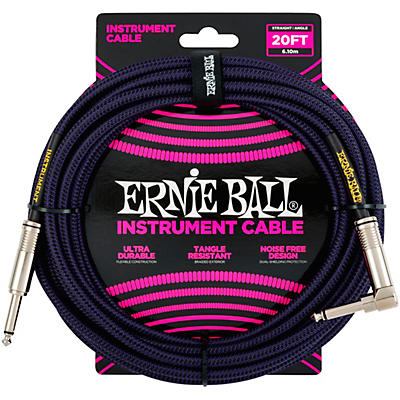 Ernie Ball Braided Straight to Angle Instrument Cable