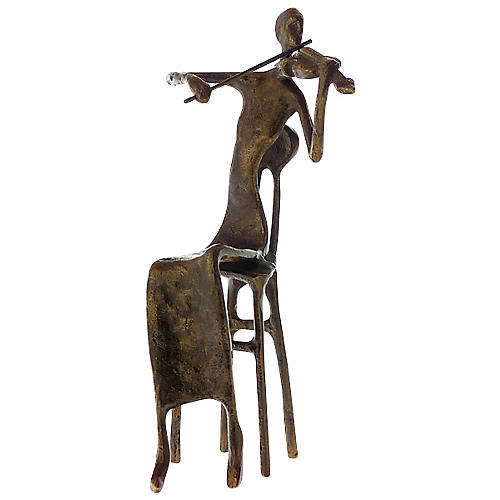 AIM Brass Female Violinist Figurine