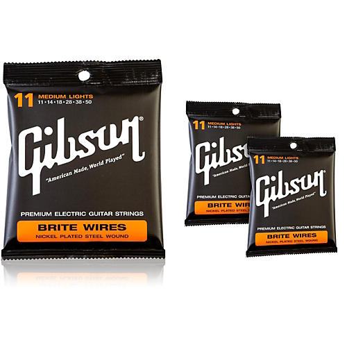 Gibson Brite Wires Medium Electric Guitar Strings (3-Pack)