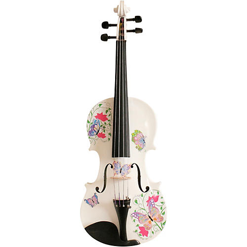 Rozanna's Violins Butterfly Dream White Glitter Series Violin Outfit 1/4
