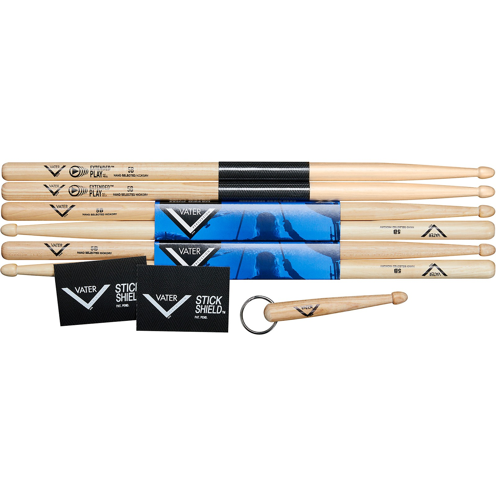 Vater Buy 2 Pairs Vater 5B wood and 1 Pair Vater Extended Play 5B Wood, get 1 free pair of Vater Stick Shield and 1 Vater Keychain