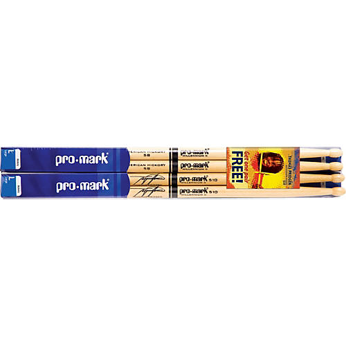 PROMARK Buy 3 Pair of American Hickory Sticks, Get Pair of T Pridge Sticks Free
