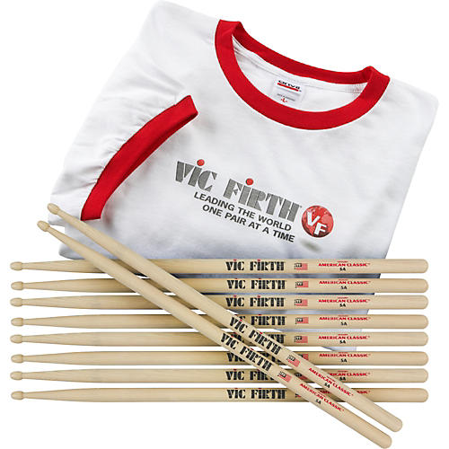 Vic Firth Buy 5 Pairs 5A Drumsticks Get a FREE T-Shirt