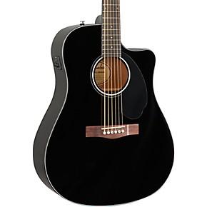 fender cd 60sce dreadnought acoustic electric guitar black musician 39 s friend. Black Bedroom Furniture Sets. Home Design Ideas
