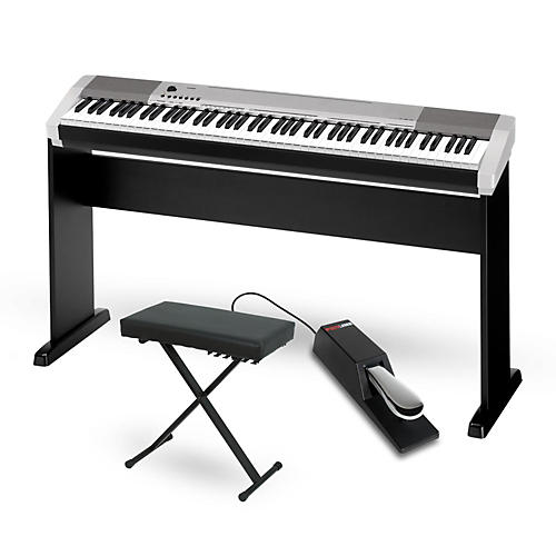 Casio CDP-130 Digital Piano Silver with CS44 Wood Stand Sustain Pedal and Deluxe Keyboard Bench