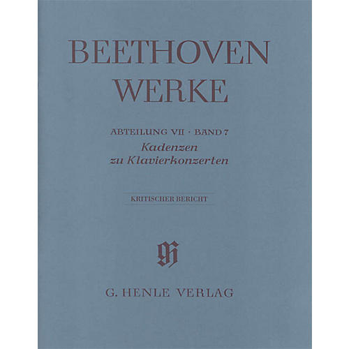 G. Henle Verlag Cadenzas in the Piano Concertos Henle Edition by Beethoven Edited by Joseph Schmidt-Görg