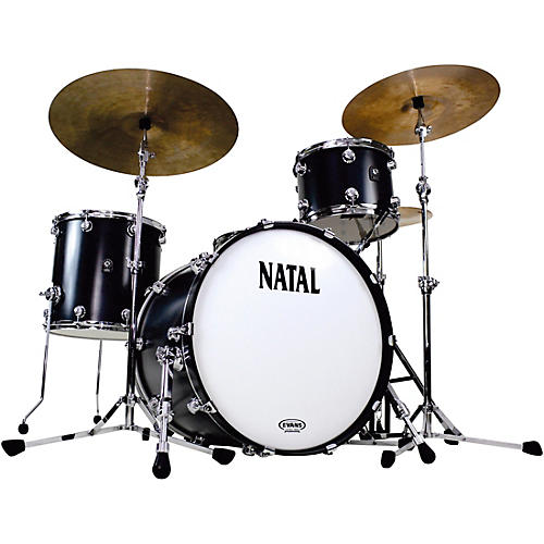 natal drums cafe racer traditional jazz 3 piece shell pack with 18 in bass drum matte black hot. Black Bedroom Furniture Sets. Home Design Ideas