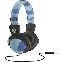 Camo Headphones w/In-Line Mic Blue