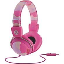 Camo Headphones w/In-Line Mic Pink
