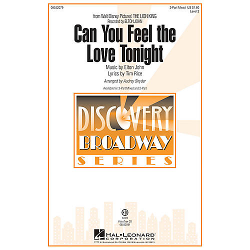 Hal Leonard Can You Feel the Love Tonight (from The Lion King) 3-Part Mixed arranged by Audrey Snyder