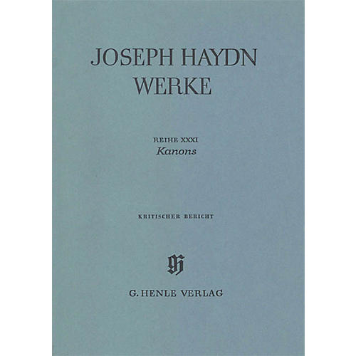 G. Henle Verlag Canons (Haydn Edition, Series XXXI Paperbound) Henle Edition Series Hardcover