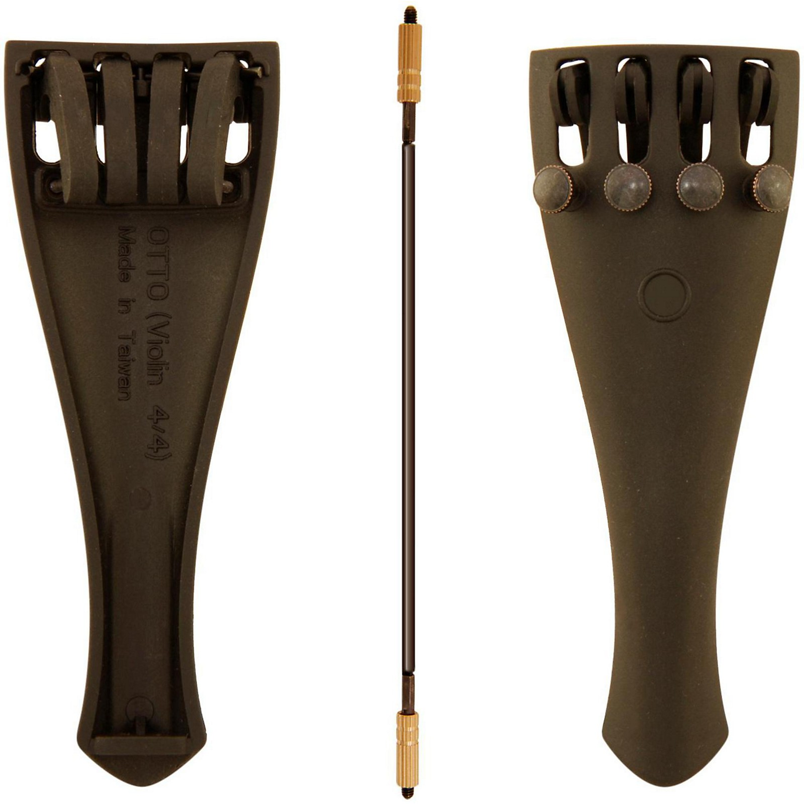 Otto Musica Carbon Composite Violin Tailpiece with Four Built-In Fine Tuners and Braided Steel Tailgut
