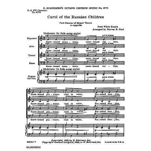 G. Schirmer Carol of Russian Chldren (8-Part with Organ Accompaniment) SATB composed by Folk Song