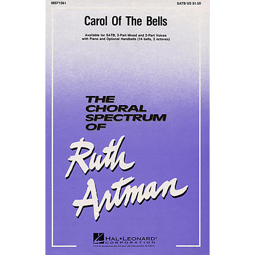 Hal Leonard Carol of the Bells SATB arranged by Ruth Artman