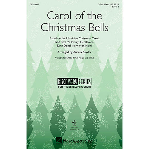 Hal Leonard Carol of the Christmas Bells (Discovery Level 2) 2-Part Arranged by Audrey Snyder