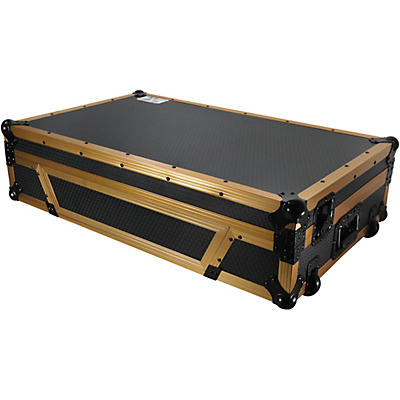 ProX Case fits DDJ-1000, DDJ-SX, FLX6 and MC7000 with Laptop Shelf and Gold Aluminum Frame