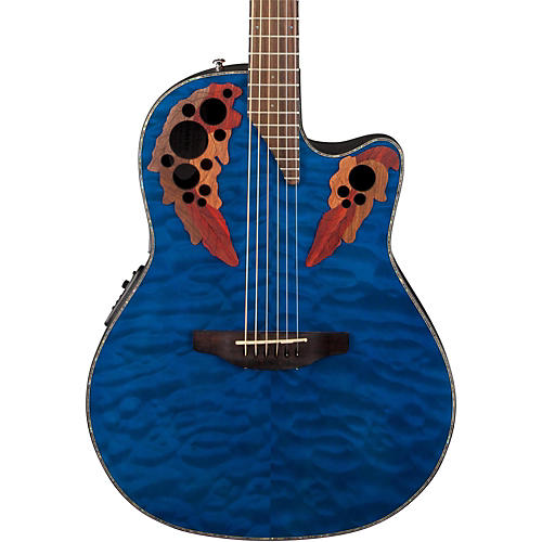 ovation celebrity elite plus acoustic electric guitar quilted maple trans blue musician 39 s friend. Black Bedroom Furniture Sets. Home Design Ideas