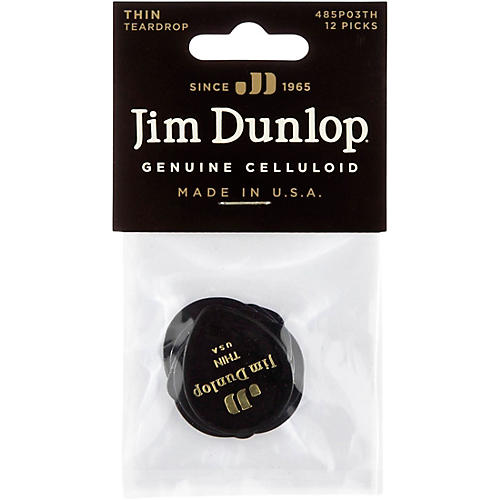 Dunlop Celluloid Teardrop Black Guitar Picks