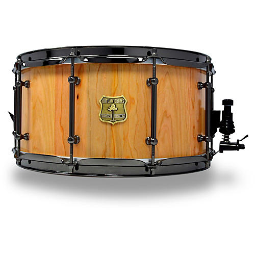 outlaw drums cherry stave snare drum with black chrome hardware musician 39 s friend. Black Bedroom Furniture Sets. Home Design Ideas