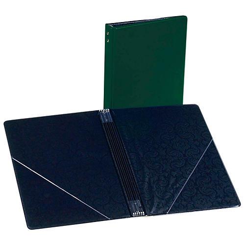 Marlo Plastics Choral Folder 7-3/4 x 11 With 7 Elastic Stays and 2 Clear, Flat, Diagonal Internal Pockets Green