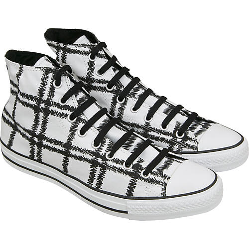 Converse Chuck Taylor Scribble Plaid Hi Top Sneakers (White)