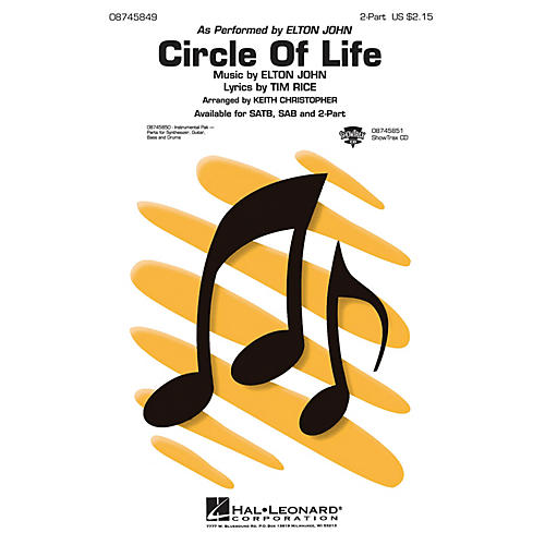 Hal Leonard Circle of Life 2-Part by Elton John arranged by Keith Christopher