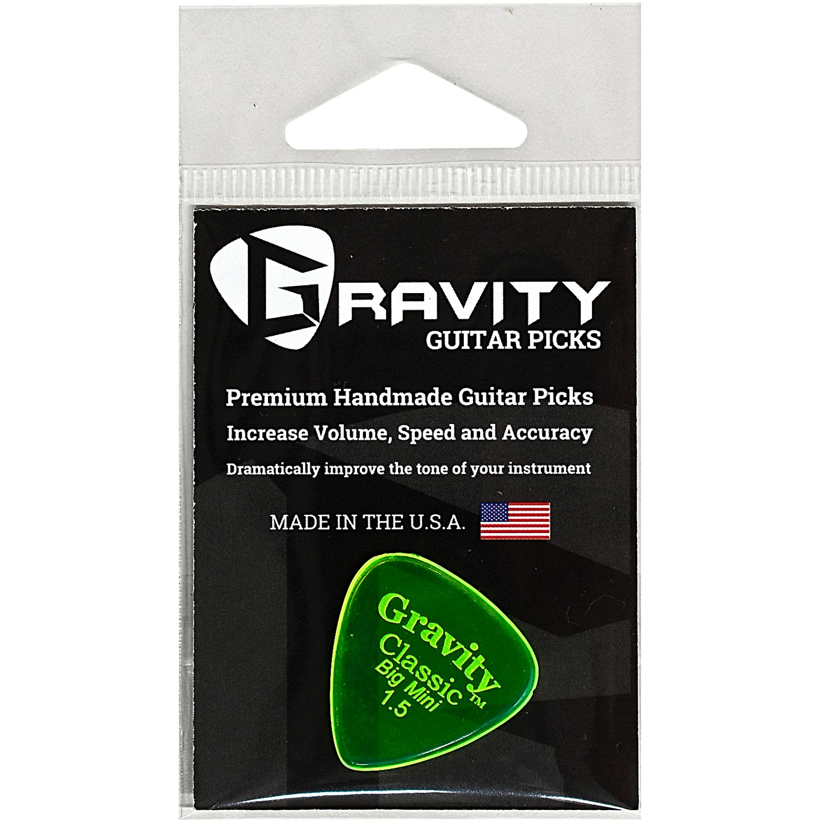 GRAVITY PICKS Classic Big Mini Polished Fluorescent Green Guitar Picks