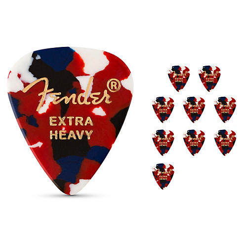 Fender Classic Celluloid Confetti Guitar Pick 12-Pack Extra Heavy 12 Pack