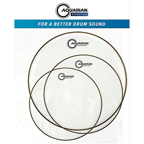 Aquarian Classic Clear Essentials Standard Tom Pack with Free Studio Rings
